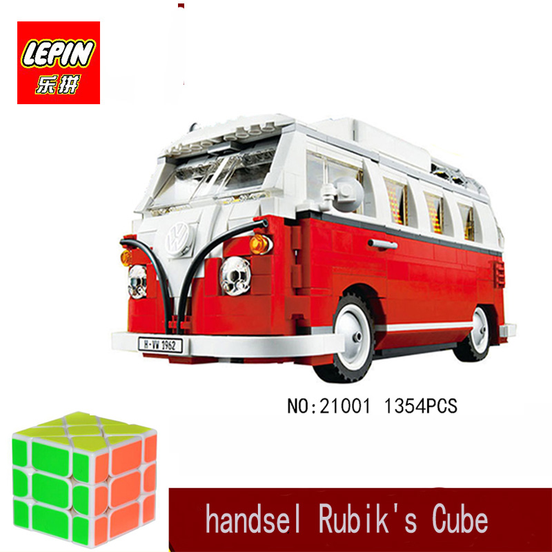 lepin minecraft Lepin technic lepin 21001 1354pcs the Volkswagen T1 Camper Van car-styling Building Blocks toy Compatible 10220 306 21001 the t1 camper van model building kits compatible with lego blocks 10220 technic car educational toys hobbies for k
