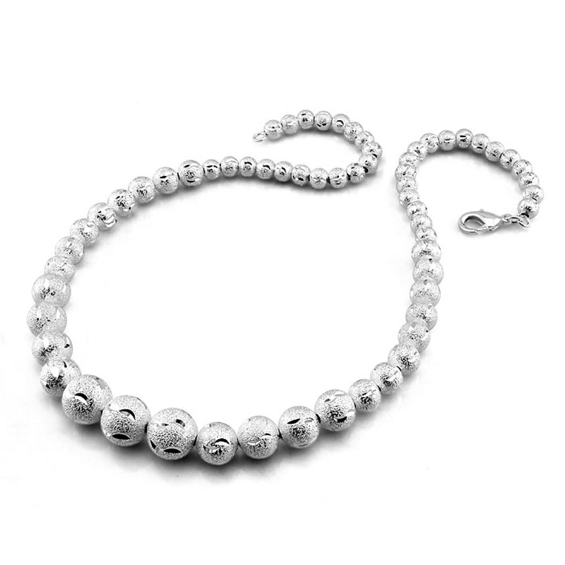 Fashion sterling silver ball pendant necklace personality irregular fashion sterling silver ball pendant necklace personality irregular solid 925 silver bead chain necklace for women jewelry in pendants from jewelry aloadofball Image collections