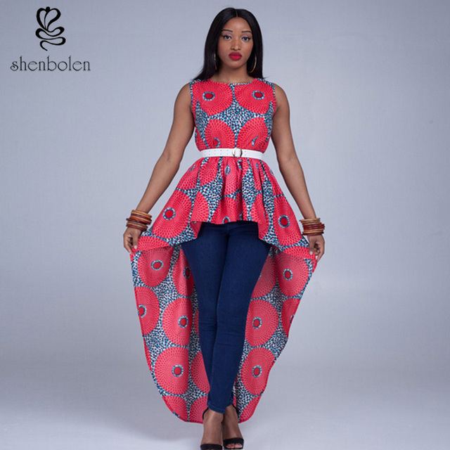 6d5cc5f92b45 2016 summer women fashion Africa Clothing style Beautiful print Irregular  tops Ankara made fro wax cotton
