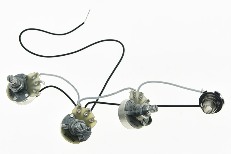 bass prewired wiring harness alpha 500k 24mm pots 2v1t 1