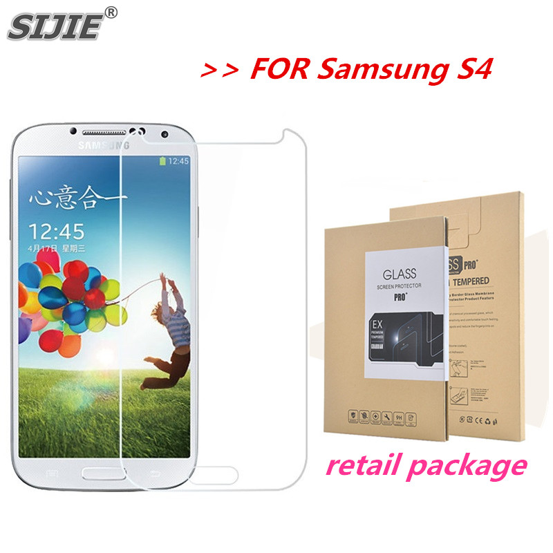 SIJIE Tempered Glass For Samsung S4 Screen Protector Toughened protective anti scratch High definition film + retail package