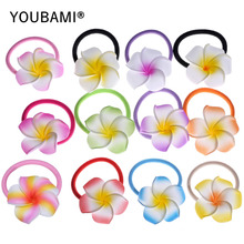 1.75 Inch Hawaiian Plumeria Foam Flowers Hair Bands 24 pcs (12 colors mixed)