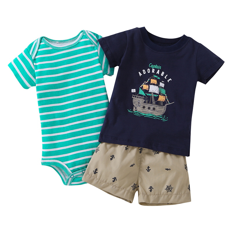 2018 New Real Active Worsted Unisex Summer Clothes Baby Newborn Babies 3 Unids Set Clothes, Soft Cotton T-shirt And Shorts