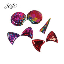 JOJO BOWS 10pcs Reversible Sequin Patches Cat Ears Unicorn Horns Accessories For Needlework Apparel Sewing Materials DIY Hairbow
