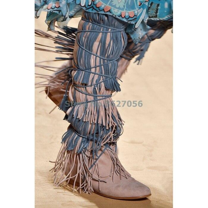 Marron bleu hauteur augmentant les bottes longues couleur mélangée frange sangle ficelles autour du genou bottes hautes bout rond daim femmes bottes