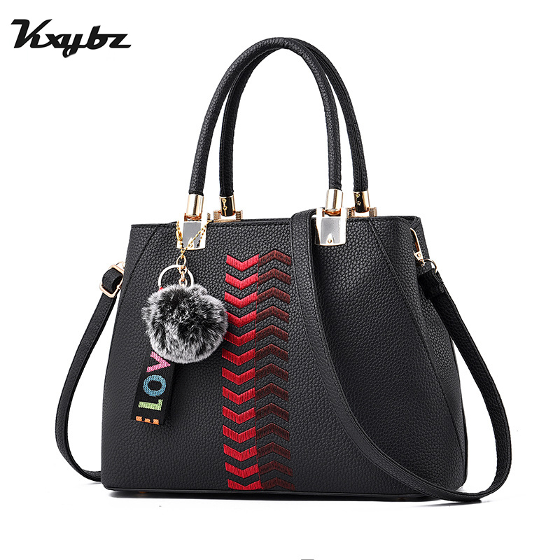 KXYBZ Fashion Women's Bag Elegant Embroidery Female Shoulder Bag Classic Fur Ball Designer Women Crossbody Bag Bolso Mujer K1038