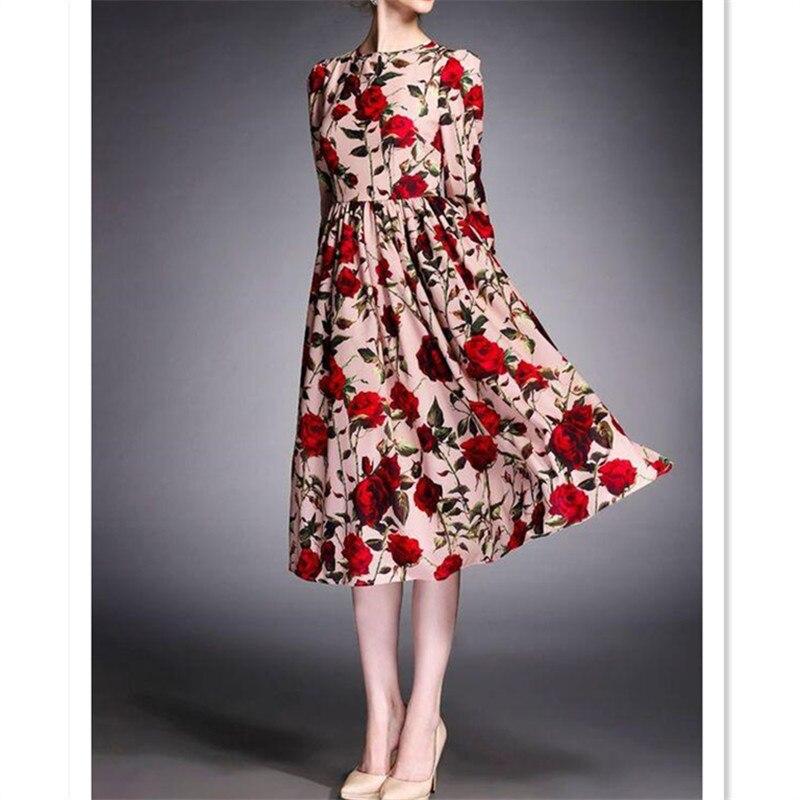 WBCTW dames robe taille haute à manches longues a-ligne Vintage robe de soirée 2018 automne Midi longueur 9XL 10XL grande taille robe florale