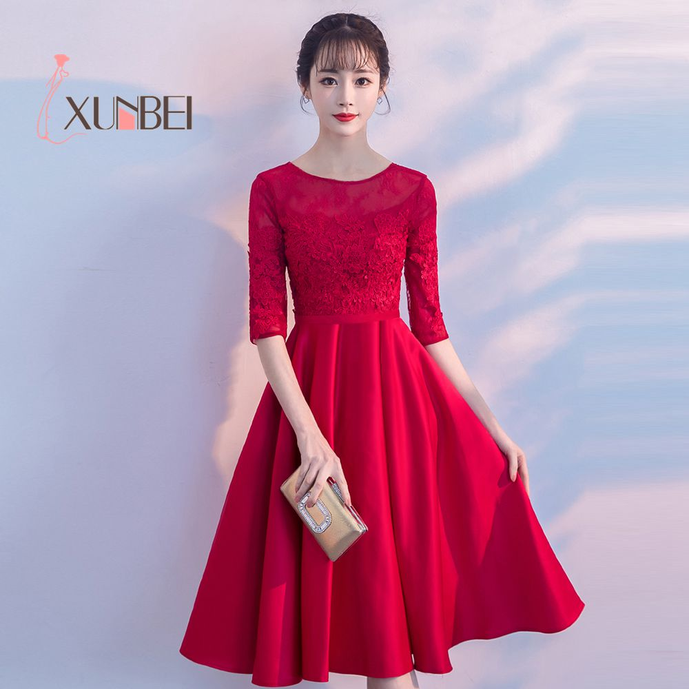 Robe de soiree Half Sleeves Short Red   Prom     Dresses   2019 Lace Appliqued Knee Length Cheap Evening Formal Party Gowns
