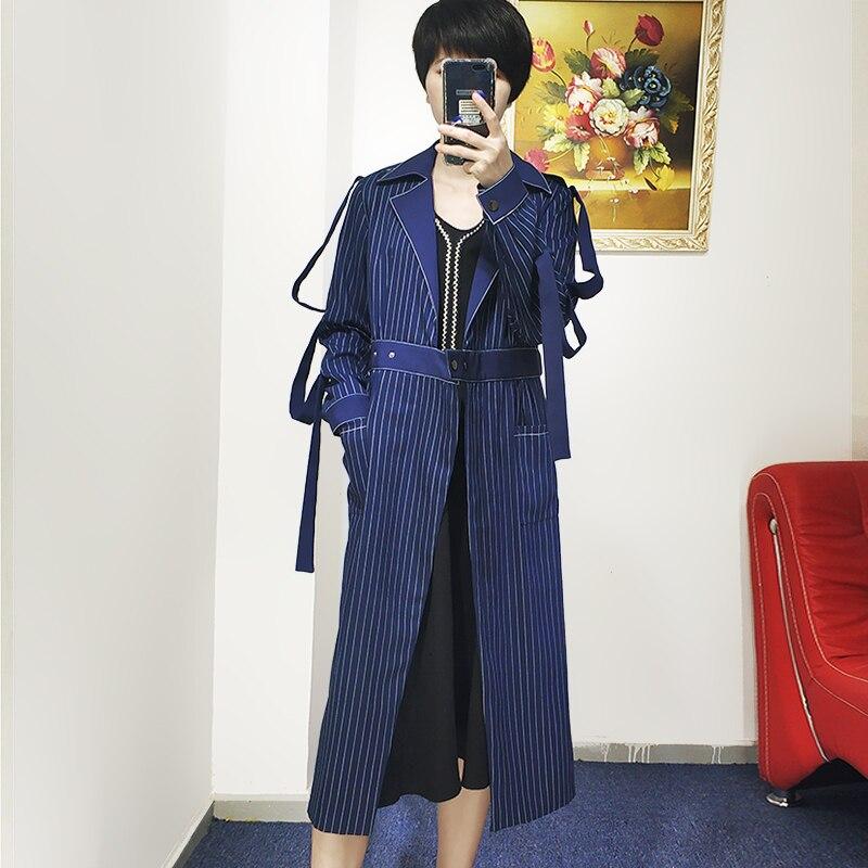 V Rayé Haute Manteau Mode Col Slim Dark Femmes Manches Nouvelle Taille 2018 Tranchée Manteaux Pleine Automne Blue Dame wZIqOnYp