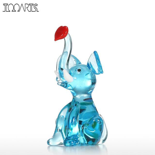 Tooarts Figurines & Miniatures Little Elephant Handmade Hand Blown Glass Art Wild Animal Figurine Collectible Home Decoration