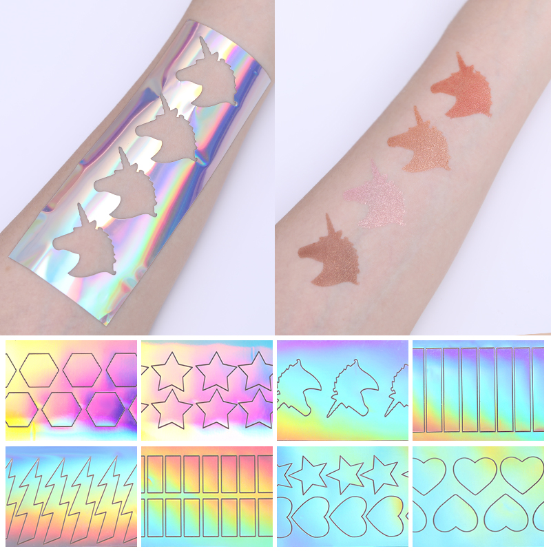 BONNIE CHOICE Lipstick Eyeshadow Makeup Color Test Adhesive Sticker 3D Hollow Holographic Rainbow Colorful 1pc