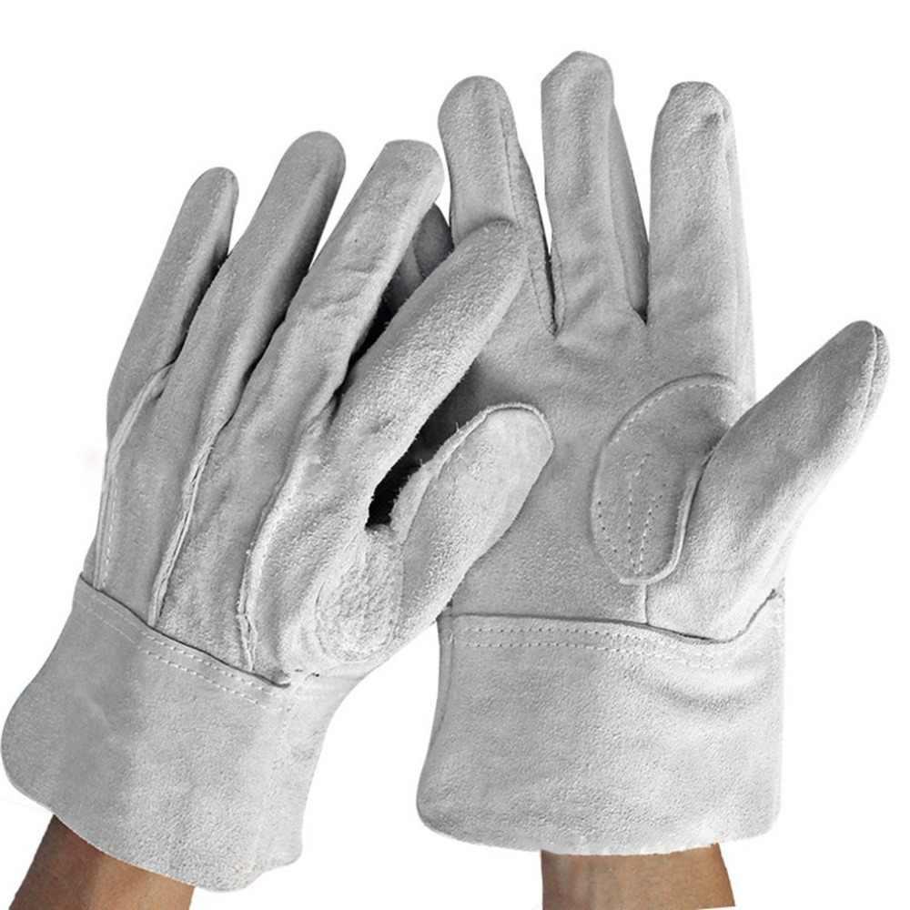 A prova di fuoco Durevole Bianco In Pelle di Mucca Guanti Saldatore Confortevole Anti-Calore di Sicurezza Sul Lavoro Guanti Per La Saldatura dei Metalli Utensili A Mano 230mm
