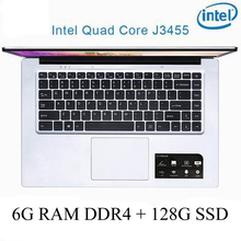 P2-04 6G RAM 128G SSD Intel Celeron J3455 Gaming laptop notebook computer keyboard and OS language available for choose