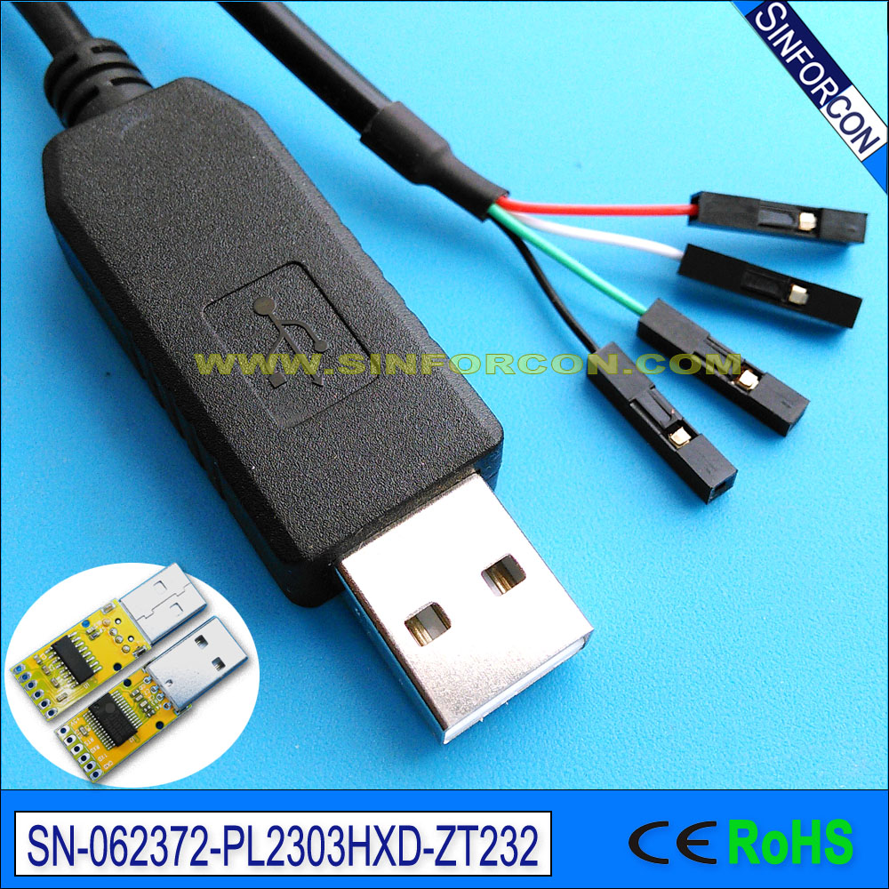 pl2303hxd usb seriell uart rs232 adapterkabel med dupont 2 54mm socket usb seriell adatper kabel