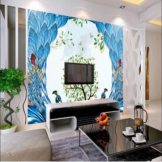 Beibehang Kustom Besar Lukisan Dinding Minimalis Modern Peacock