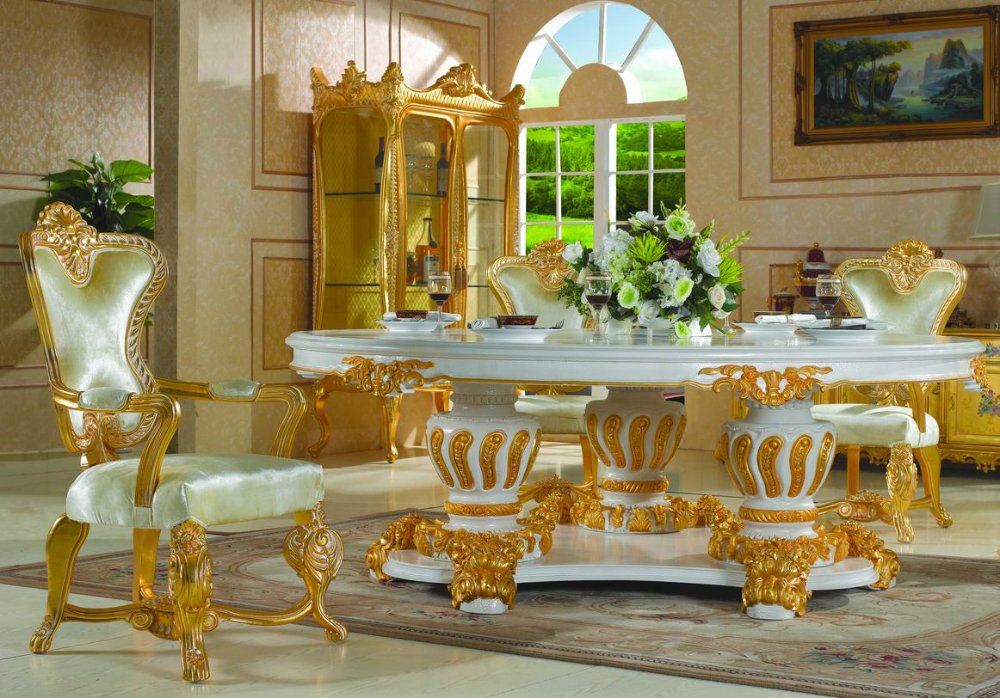 buy royal classic furniture handwork gilding golden foil royalty dining table. Black Bedroom Furniture Sets. Home Design Ideas