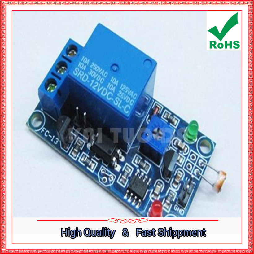 Free Shipping 2pcs 12V Stable Light Control Switch Photoresistor Plus Relay Module Light Detector Switch (C2A4)
