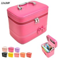 Portable Storage Bag Type Travel Cosmetic Makeup Bag Waterproof Bathroom Wash Bag Leather Finishing Organizer Cute