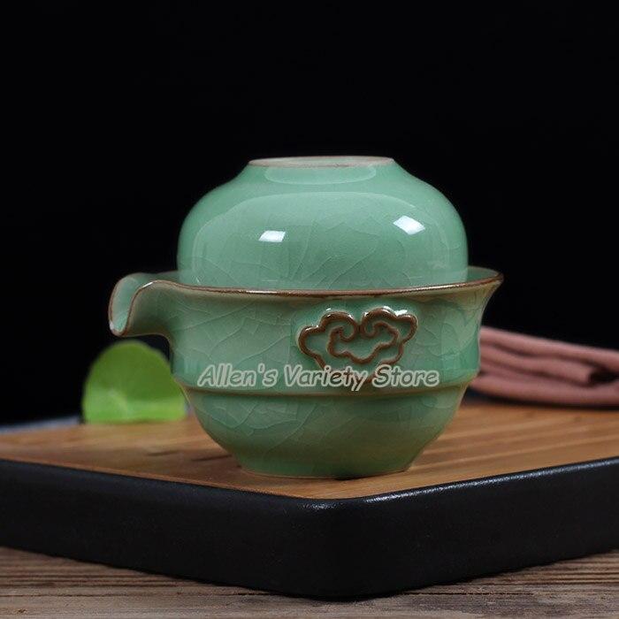 Longquan teacups teaset Quik cup pot grasping porcelain travel tea set ceramic kung fu easy teakettle easy teapot teacup