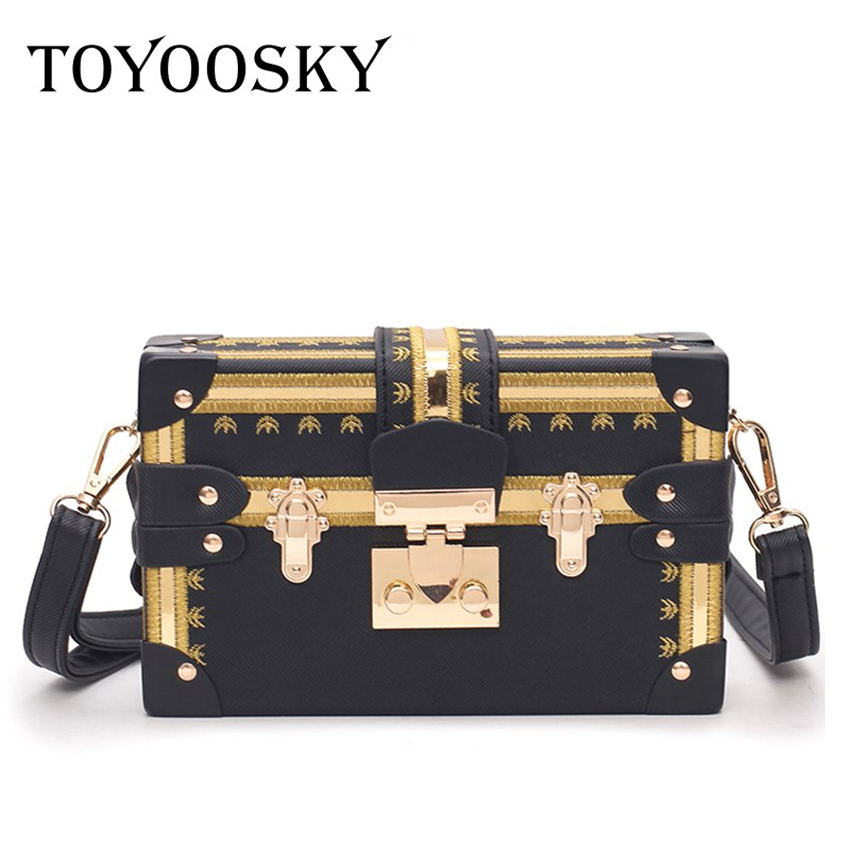 TOYOOSKY Vintage Handbags Clutch Retro Women Messenger Bags Panelled Box Bag Rivet Crossbody Shoulder Bags Small Handbag Purse
