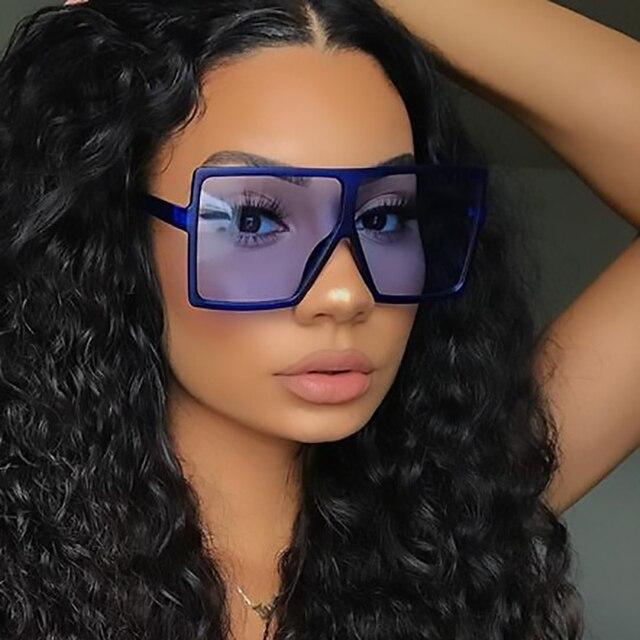 Ретро негабаритных Квадратные Солнцезащитные очки для женщин красочные большие рамки модные очки с градиентными линзами мужские черные очки с плоским верхом коричневый