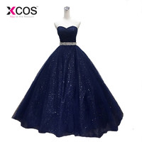 XCOS 2018 Robe De Mariage Princess Bling Bling Prom Dress Luxury Navy blue Ball Gown Evening Dress Custom Made Vestido De Noiva