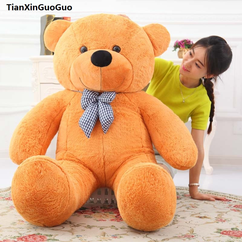 large 120cm lovely bowtie teddy bear plush toy light brown bear soft doll throw pillow birthday gift b2745 stuffed animal largest 200cm light brown teddy bear plush toy soft doll throw pillow gift w1676
