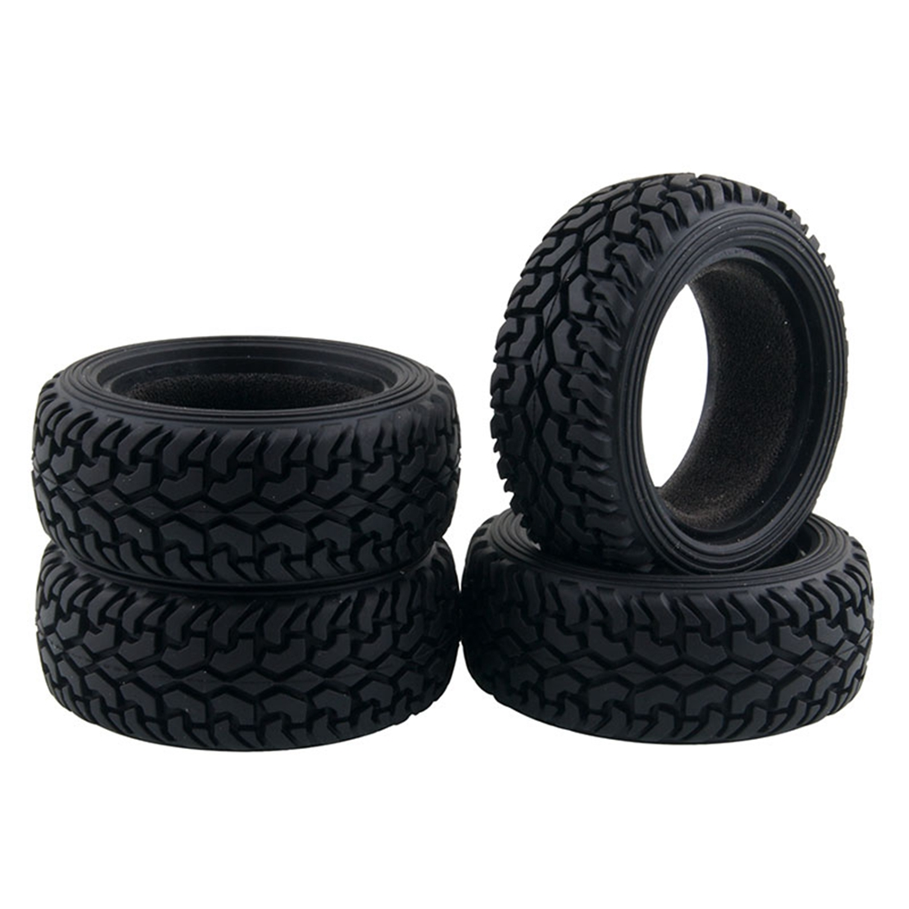 1//10 On Road Buggy Rubber Rally Black Wheel Tire Set for kyosho HPI HSP Tamiya