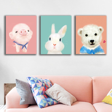Lovely Watercolor Animals Wall Art Canvas Poster Print Painting Decorative Pictures for Living Room Bedroom Home Decor
