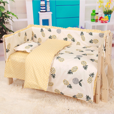 6/9pcs Pineapple Baby Bedding Set Bebe Jogo De Cama Kit Berço Crib Bedding Set Newborn Cartoon Baby Crib Kids Whole Set