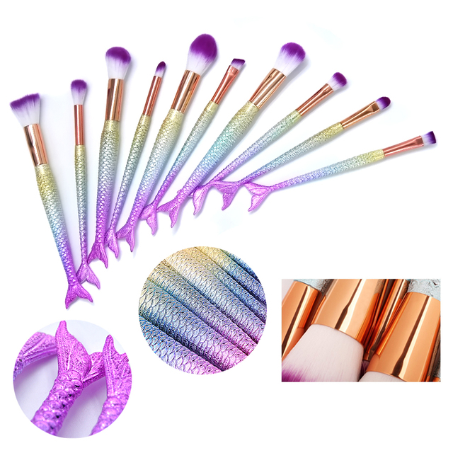 11pcs Mermaid Makeup Brushes Foundation Eyeliner Concealer Brushes Fish Tail Cosmetic brochas maquillaje Make up Brushes 4