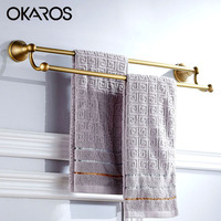 60cm Double Towel Bar Towel Rack Holder Solid Brass Oil Rubbed Bronze Black Finish Towel