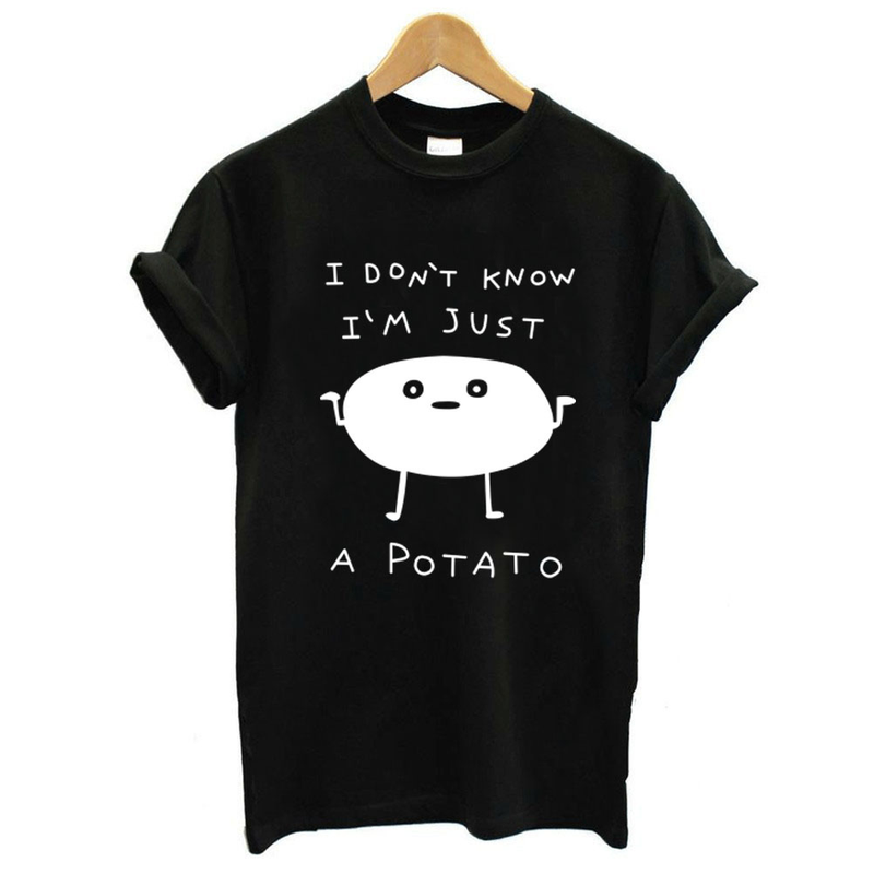 I'm Just A Potato Letter Print T Shirt Women Short Sleeve O Neck Loose Tshirt 2019 Summer Women Tee Shirt Tops Camisetas Mujer