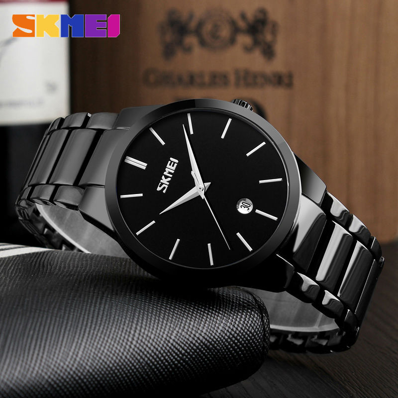 SKMEI 2017 New Simple Quartz Watch Men Business Alloy Steel Strap Mens Watches Top Brand Luxury Waterproof Date Wristwatch 9140 didun mens watches top brand luxury watches men steel quartz brand watches men business watch luminous wristwatch water resist