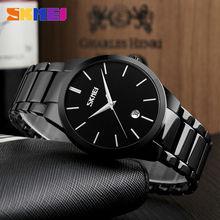 SKMEI 2017 Nuevo Sencillo Reloj de Cuarzo Hombres de Negocios De Aleación de Correa de Acero Para Hombre Relojes de Primeras Marcas de Lujo Fecha Reloj Resistente Al Agua 9140