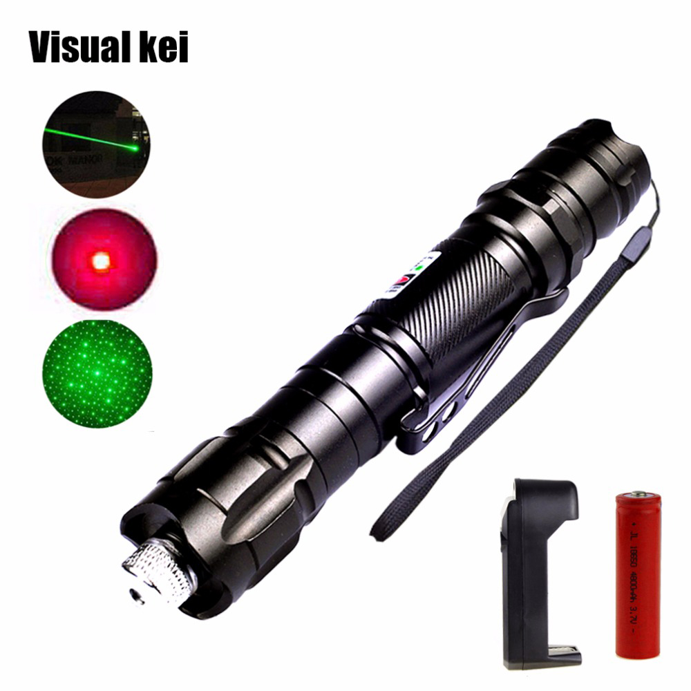Portable 5mW Green Laser Pointer 10000m Red Lazer Pen Light Long Distance Powerful Starry Sky Head with 18650 battery charger laser hijau jarak jauh