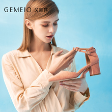 GEMEIQ 2019 spring New Shallow Pointed toe One-line Buckle strap Hollow Nude Shoe Women Bold heel High Commuter Shoes women