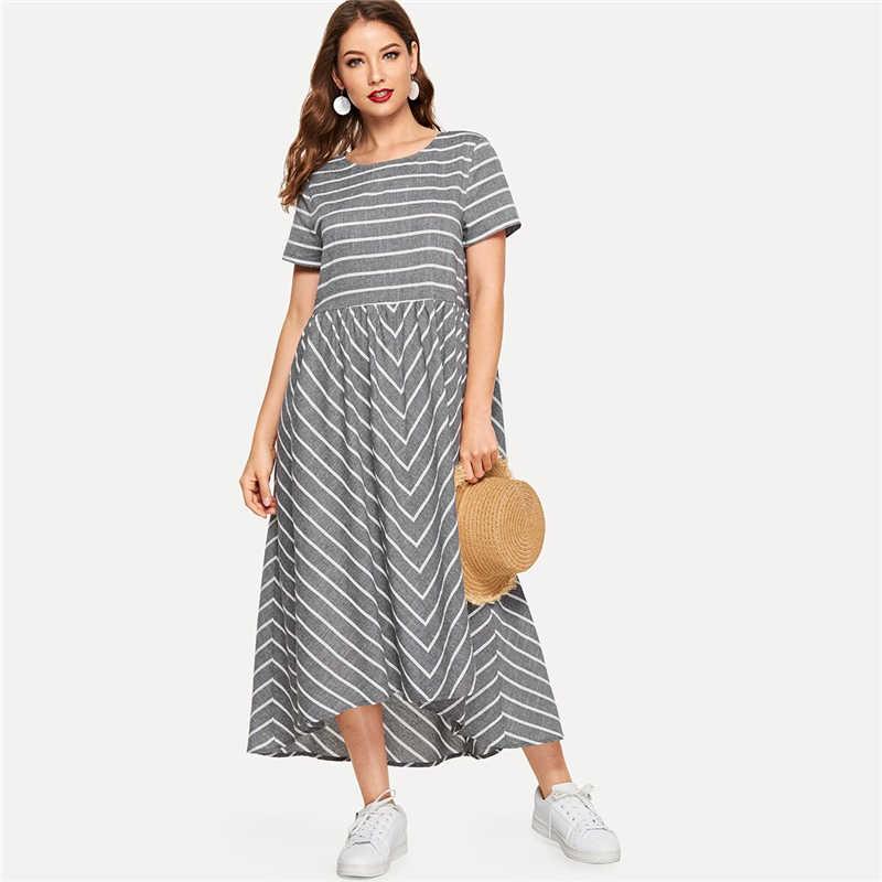 Шеин Полосатый шеврон печати Смок Макси платье для женщин Повседневное короткий рукав летнее платье круглый вырез хлопок леди линия длинное платье