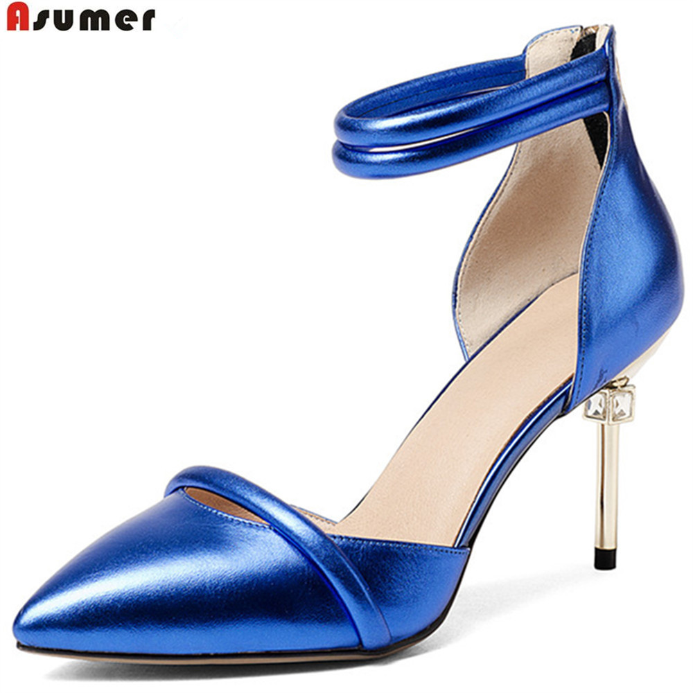 ASUMER blue pointed toe zip spring autumn ladies pumps thin heel elegant dress shoes women genuine leather high heels shoes asumer white spring autumn women shoes round toe ladies genuine leather flats shoes casual sneakers single shoes