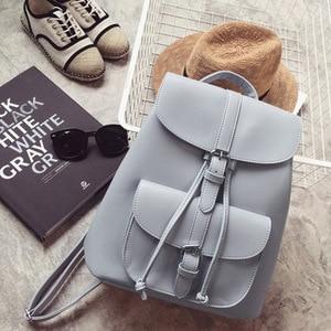 Image 1 - Miyahouse PU skórzane plecaki modne kobiece sznurkiem torby podróżne Retro torby szkolne kobiety wysokiej jakości plecak Mochila