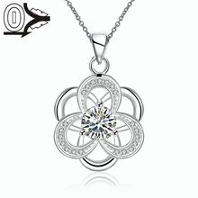 Christmas Gift Silver Plated Necklace&Pendant,Wedding Jewelry Accessories,Classic White Zircon Hollow Flower Necklaces