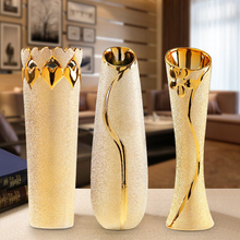 Nordic golden Ceramic vase Tabletop Vases crafts decorative ornaments gifts yellow vases for Home wedding decoration nordic modern geometric gold ceramic vase creative vases for flower living room tabletop wedding vase home decorative ornaments