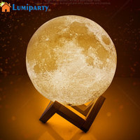 LumiParty 3D Simulation Moon Night Light 3 LEDs Moonlight USB Rechargeable Desk Lamp Wood Base LED
