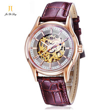 Brand Classic Fashion Skeleton Casual Watch Men s Business Automatic Self wind Tourbillon Wrist Watches Leather