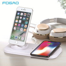 FDGAO Charging Base Dock Station For iPhone XS XR X 8 Samsung Android Type C USB Cable Sync Cradle Wireless Charger Stand Holder