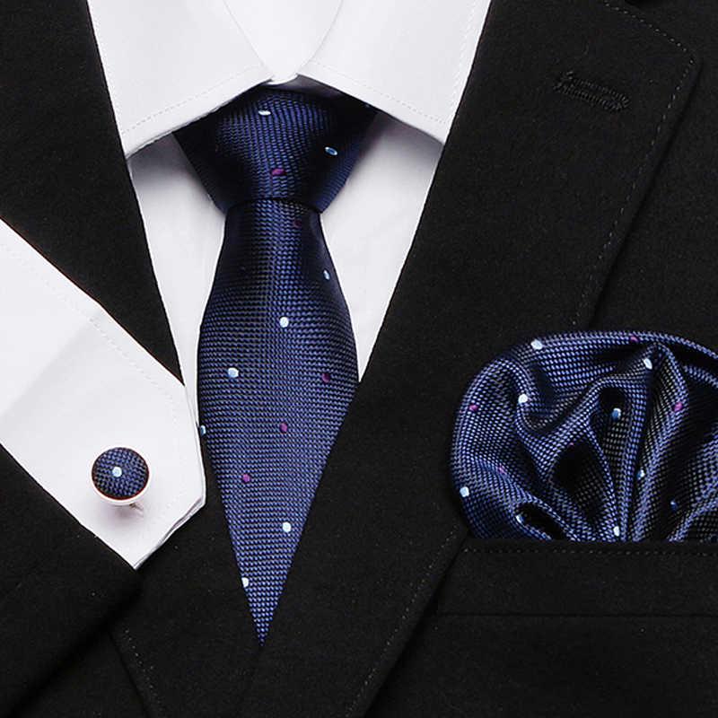Mens Dasi Kurus Biru Palid 100% Sutra Klasik Jacquard Tenun Ekstra Panjang Dasi atau Set untuk Pria Formal Pernikahan pesta