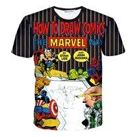 Forma quente Como Desenhar Quadrinhos da Marvel 3D T-shirt Impressão Unisex Homme Tee Camisas de Algodão de Manga Curta Casuais Solta Verão Thor topos