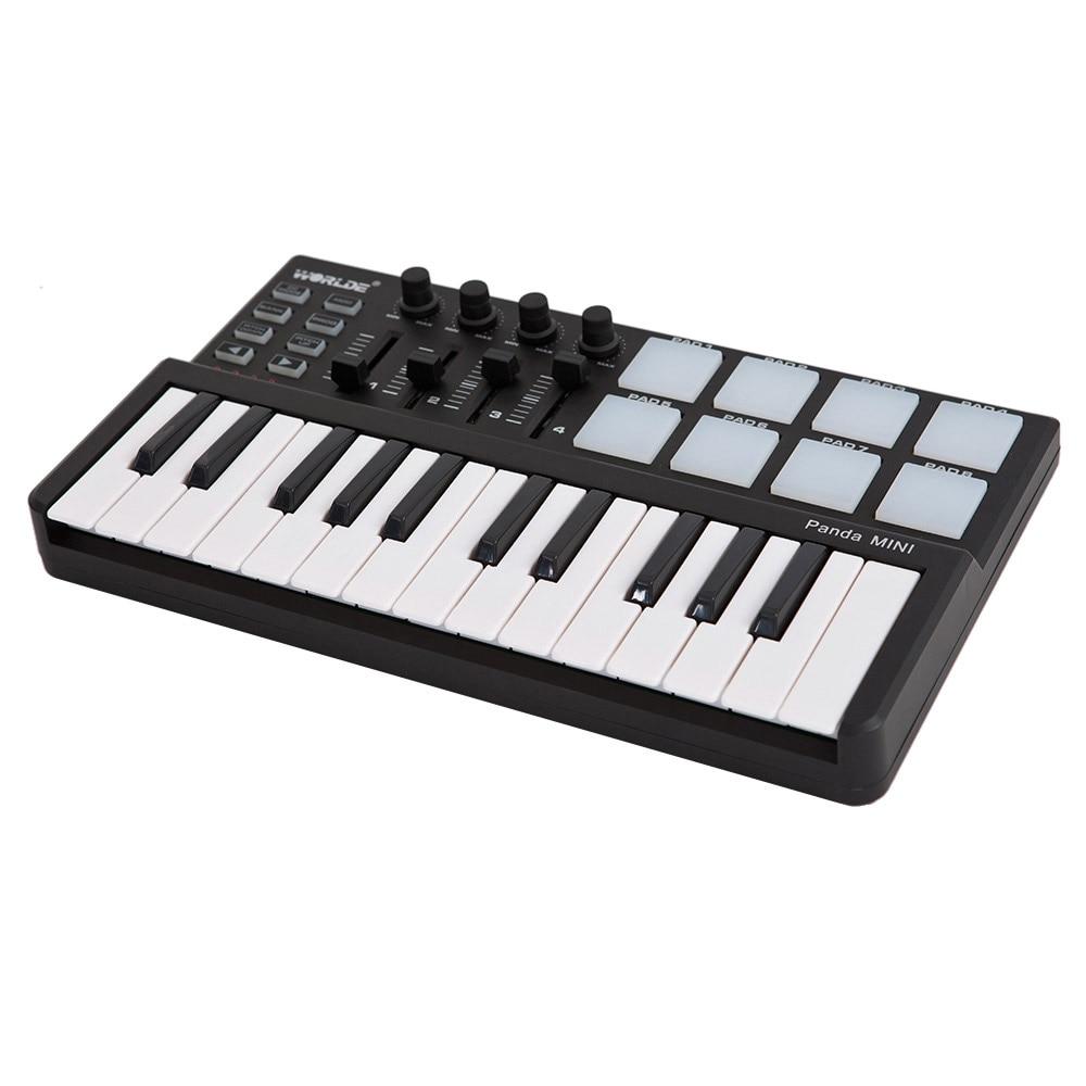 Portable Mini Piano MIDI Keyboard Mini 25 Key USB Keyboard and Drum Pad MIDI Controller with