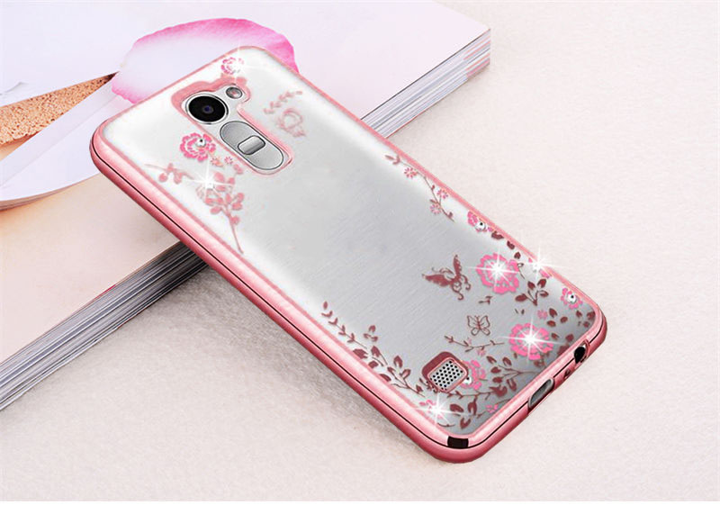 FLOWER CASE LG K10 2016 Casing Bunga Softcase Jelly Back Cover Diamond Electroplating Bumper Secret Garden