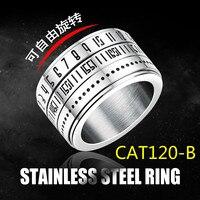 תכשיטים בסגנון קוריאני אישיות טבעת האופנה נירוסטה יכול מסתובב טבעת חום למכור סחר חוץ GJ511